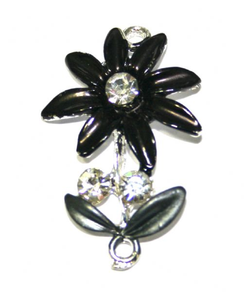 1pce x 35mm*22mm Black daisy with leaves connector - enameled alloy charm with rhinestones